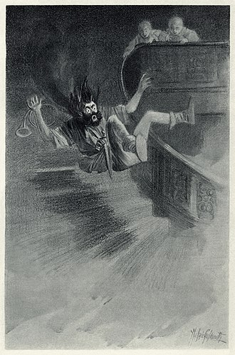 """The Canterville Ghost - """"He met with a severe fall"""" – Illustration by Wallace Goldsmith of the effects of a butter slide set up by the twins as part of their campaign of practical jokes against the ghost."""
