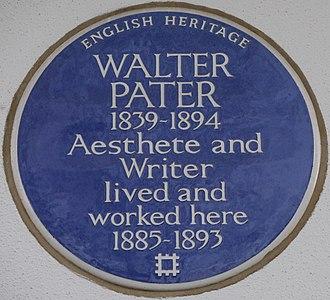 Walter Pater - Blue plaque, 12 Earls Terrace, Kensington