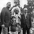 Walter Knott with John and Ethan Wayne, Log Ride opening, Knott's Berry Farm, 1969.jpg