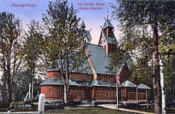 Perfil de la iglesia, en una postal alemana de 1917.
