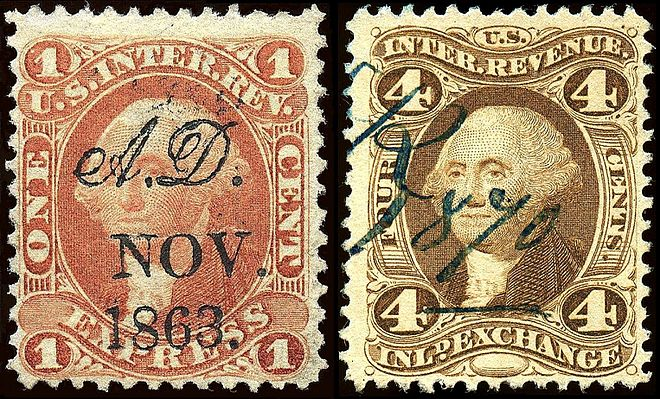 Revenue stamps of the united states wikiwand examples of the first us revenue stamps issued in 1862 fandeluxe Image collections