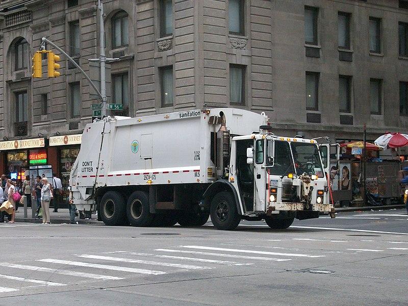 File:Waste collection truck sanitation New York city.JPG