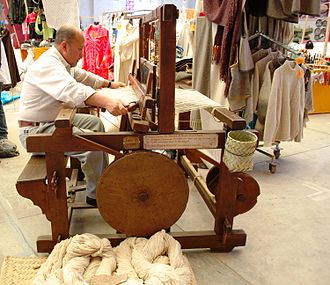 Textiles of Mexico - Weaver using foot treadle loom of the type introduced by the Spanish