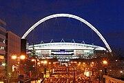 Wembley Stadium, illuminated