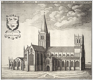 Hereford Cathedral - Wenceslas Hollar's engraving of the cathedral in the 17th century.