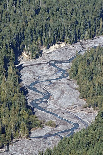 Braided river - The White River in the U.S. state of Washington transports a large sediment load from the Emmons Glacier of Mount Rainier, a young, rapidly eroding volcano.