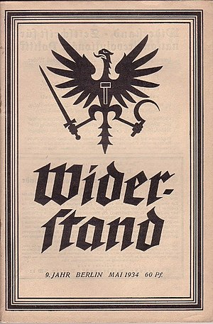 National Bolshevism - Ernst Niekisch's Widerstand journal featuring the original National Bolshevik eagle symbol.