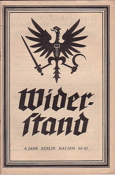 Portada de la revista Widerstand, revista que sintetizaba lo que más tarde se llamó nacionalbolchevismo
