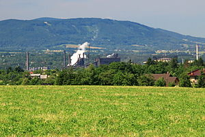 Třinec Iron and Steel Works - View of Třinec Iron and Steel Works and Moravian-Silesian Beskids