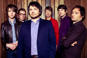 Wilco - Wilco at Massachusetts Museum of Contemporary Art, Solid Sound Fest, 2011. Pictured left to right: Patrick Sansone, Mikael Jorgensen, Jeff Tweedy, Nels Cline, Glenn Kotche, John Stirratt