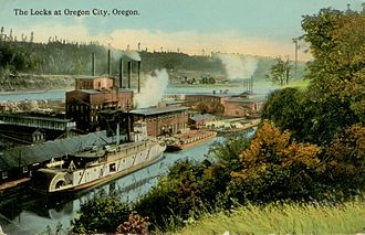 Willamette Falls Locks - Steamboat and barge traffic in the lock, circa 1915