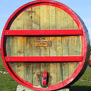 A wine barrel at Glenora winery in the Finger ...