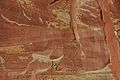 Wingate Sandstone (Upper Triassic) with desert varnish, Fremont Petroglyphs Cliff, Capitol Reef National Park, southern Utah 15 (8444503859).jpg