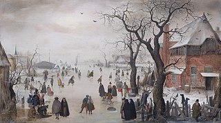 Winter Landscape with Skaters near a Village