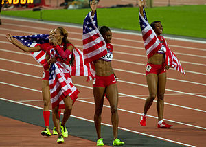 Athletics at the 2012 Summer Olympics – Women's 4 × 400 metres relay - Image: Women's 4x 400m Relay Gold Medalists (8421810152)