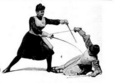 Women fencers - threat parried with the dagger and straight threat with sword.png