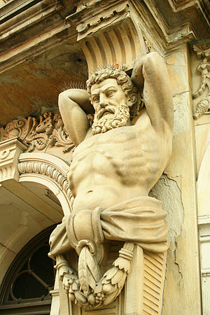 Wooster, Ohio - Architectural telamon (or atlas) on the courthouse entrance.