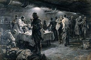 Fortunino Matania - Image: World War I; an advanced dressing station in World War I. Oi Wellcome V0018186