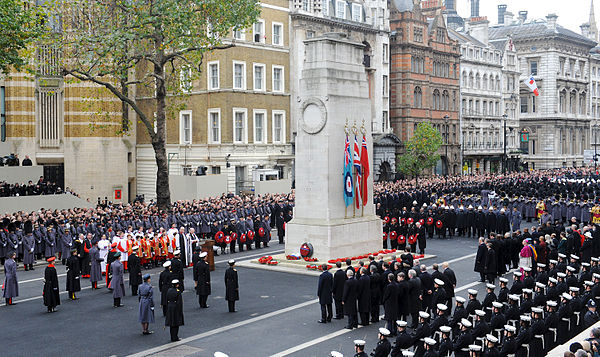 Wreaths being laid at the Cenotaph during the Remembrance Sunday service in 2010. Wreaths Are Laid at the Cenotaph, London During Remembrance Sunday Service MOD 45152052.jpg