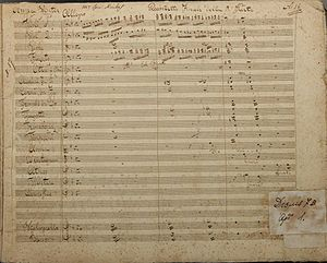 Ionian School (music) - The first page of 'Quinteto Finale' from Act III of the opera Anna Winter by Xyndas (composer's autograph). It is exhibited in the Music Museum of the Philharmonic Society of Corfu.