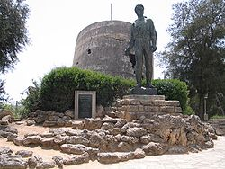 Memorial to Mordechai Anielewicz next to the destroyed Water tower at Yad Mordechai