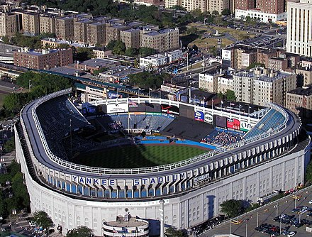 During 1974 and 1975, Yankee Stadium was renovated into its final shape and structure, as shown here in 2002, seven years before demolition. Yankee Stadium aerial from Blackhawk.jpg