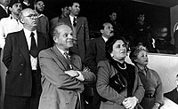 Yeshayahu Spira and Olya Silberman at a music conference in 1954.jpg
