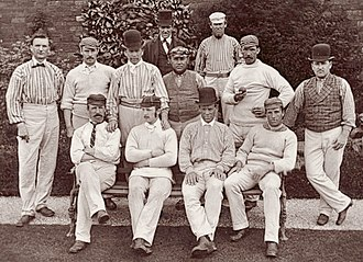 Yorkshire County Cricket Club - The Yorkshire team in 1875 was captained by Joseph Rowbotham. Back row: G. Martin (umpire), John Thewlis. Middle row: George Pinder, George Ulyett, Tom Armitage, Joseph Rowbotham, Allen Hill, Andrew Greenwood. Front row: Tom Emmett, John Hicks, Ephraim Lockwood, Charlie Ullathorne.