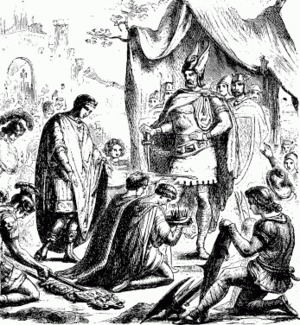 Deposition of Romulus Augustulus - Romulus Augustulus, the last Western Roman Emperor, surrenders the crown to Odoacer (1880 illustration).