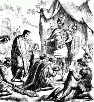 Fall of Ravenna - Romulus Augustulus resigns the crown. Drawing from the Young Folks' History of Rome, 1880.