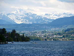 Zimmerberg - Zürichsee and eastern slope of the Zimmerberg (to the right)