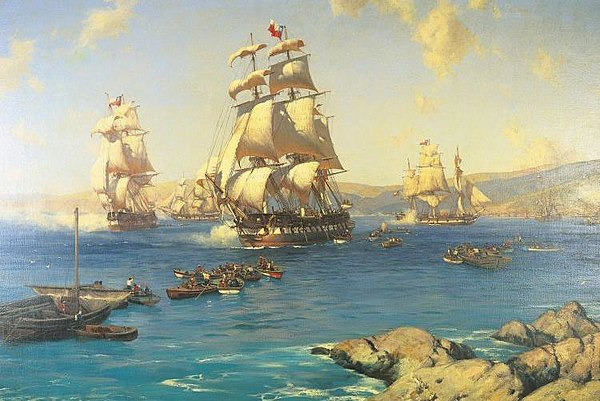 The First Chilean Navy Squadron (in picture) made the 1820 Freedom Expedition of Peru possible. Chilean involvement in Peru's independence would later cause disputes over war debts. Zarpe de la Primera Escuadra Nacional.jpg