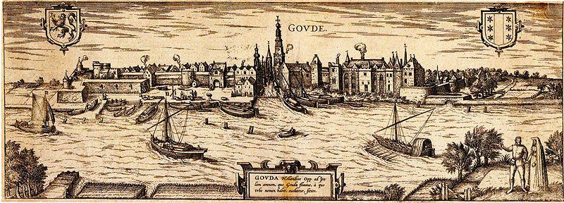 Afbeelding:Zicht op Gouda met kasteel door Frans Hogenberg.jpg