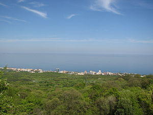 Golden Sands Nature Park - View of the park with the Golden Sands resort and the Black Sea.