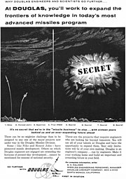"""""""It's no secret we're in the 'missile business' to stay..."""" 1958 Douglas Aircraft Company ad detail, from- The Big T 1958 (page 184 crop).jpg"""