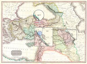 "Salmas - Salmas in 1818 Pinkerton Map of ""Turkey in Asia, Iraq, Syria, and Palestine"" (Concurred with the Time of Qajar Dynasty) • Modified by Hassan Jahangiri"