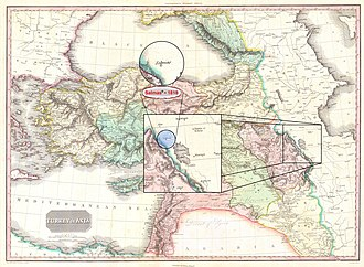 """Salmas - Salmas in 1818 Pinkerton Map of """"Turkey in Asia, Iraq, Syria, and Palestine"""" (Concurred with the Time of Qajar Dynasty) • Modified by Hassan Jahangiri"""