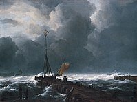 'Rough Sea at a Jetty', oil on canvas painting by Jacob van Ruisdael, 1650s.jpg