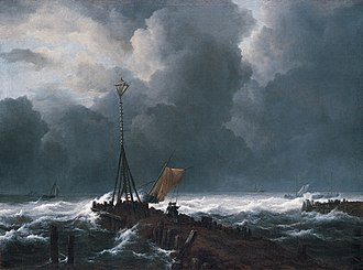 Rough Sea at a Jetty - Image: 'Rough Sea at a Jetty', oil on canvas painting by Jacob van Ruisdael, 1650s