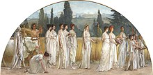 Semi-circular painting showing a procession of women, dressed in white robes. A Greek temple is partially visible in the background.