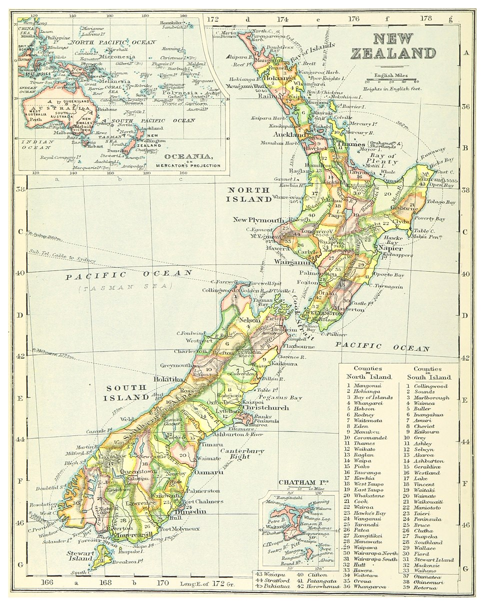 (1899) MAP OF NEW ZEALAND - comp. by Irvine