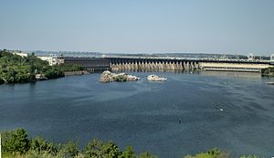 Dnieper Hydroelectric Station - The dam as seen from Khortytsia Island.