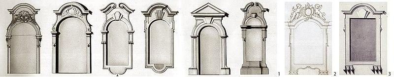 Проекты обрамления оконных, дверных проёмов и ниш для Зимнего дворца (1, 2), окна деревянной галереи у Монплезира (3). 1750-е гг.