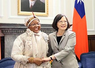 Ntfombi of Swaziland - Ntombi Tfwala (left) with President of Taiwan Tsai Ing-wen