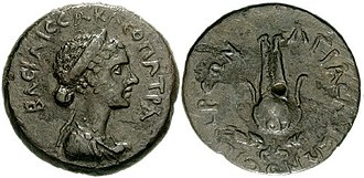 Death of Cleopatra - A hemiobol coin of Cleopatra VII struck in 31 BC (the year she and Mark Antony lost the Battle of Actium), showing her wearing the royal diadem