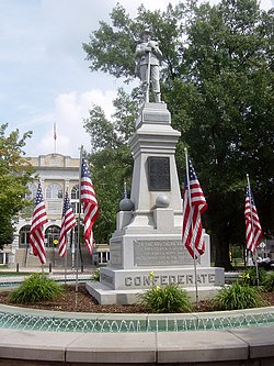 Confederate monument at the center of the town square