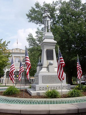 James Henderson Berry - A 1908 monument in homage to James H. Berry and the Southern Soldier, located in the town square of Bentonville, Arkansas