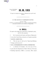 116th United States Congress H. R. 0000193 (1st session) - Improving Embassy Design and Security Act.pdf