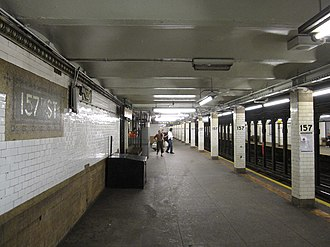 157th Street (IRT Broadway–Seventh Avenue Line) - 242nd Street-bound platform looking south