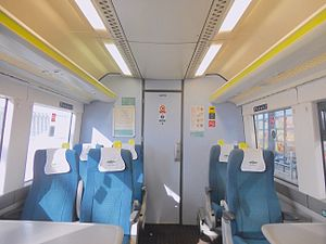 British Rail Class 171 - The interior of the First Class cabin aboard a Southern Railway Class 171